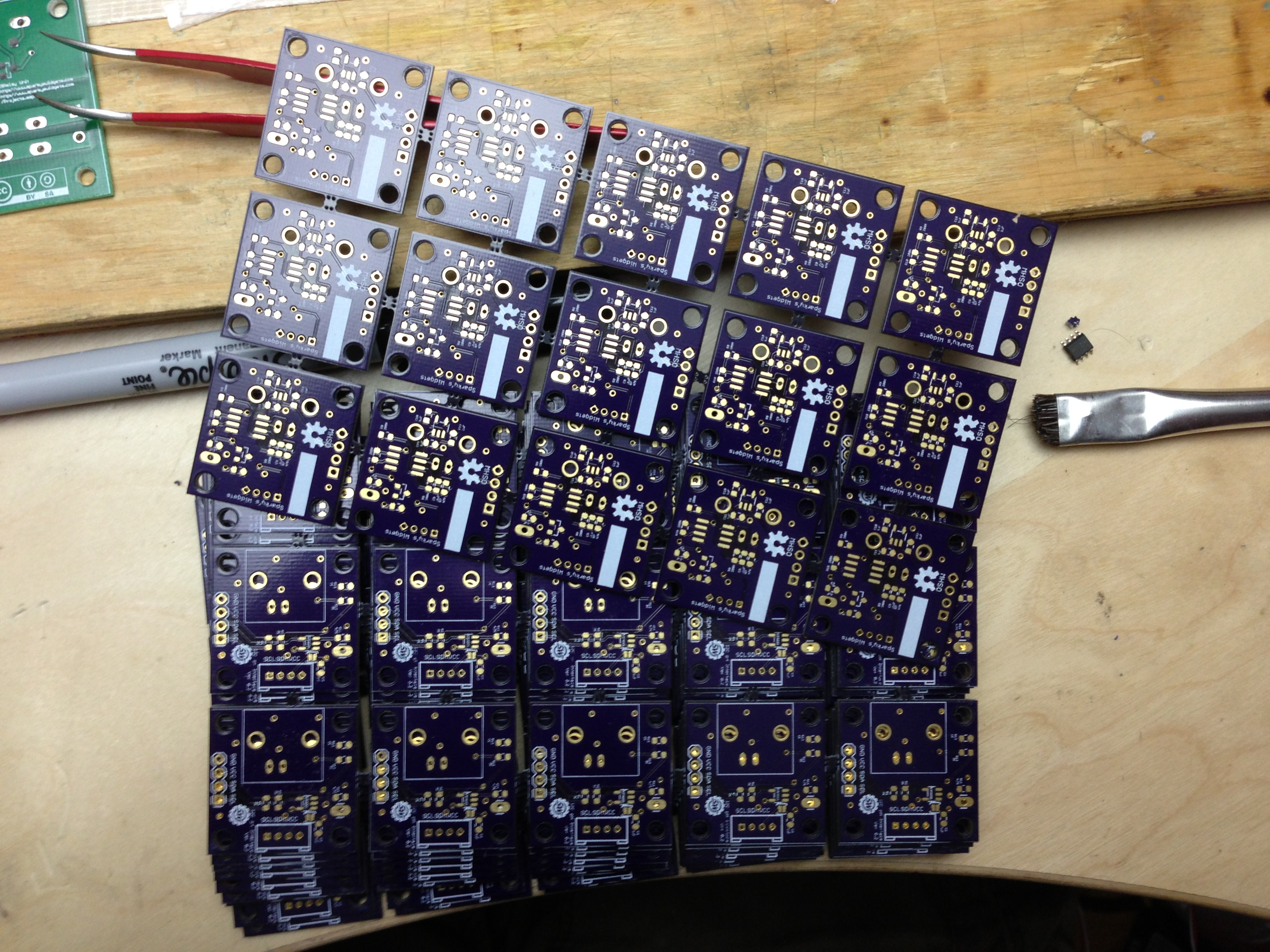Nice batch of OSHPark boards ready for assembly!